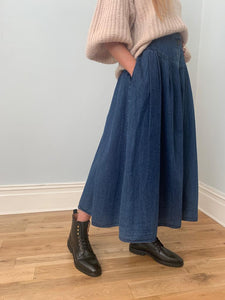 Vintage button front soft long denim skirt