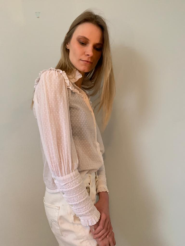 Laura Ashley 1980's Edwardian style sheer cotton voile blouse