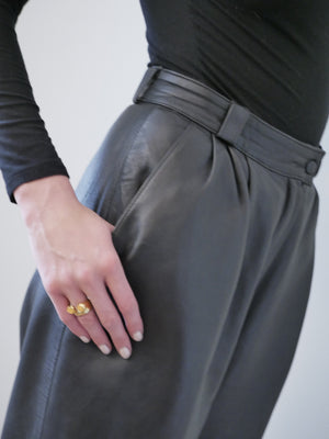 Yves Saint Laurent 1980's leather pleat front trousers
