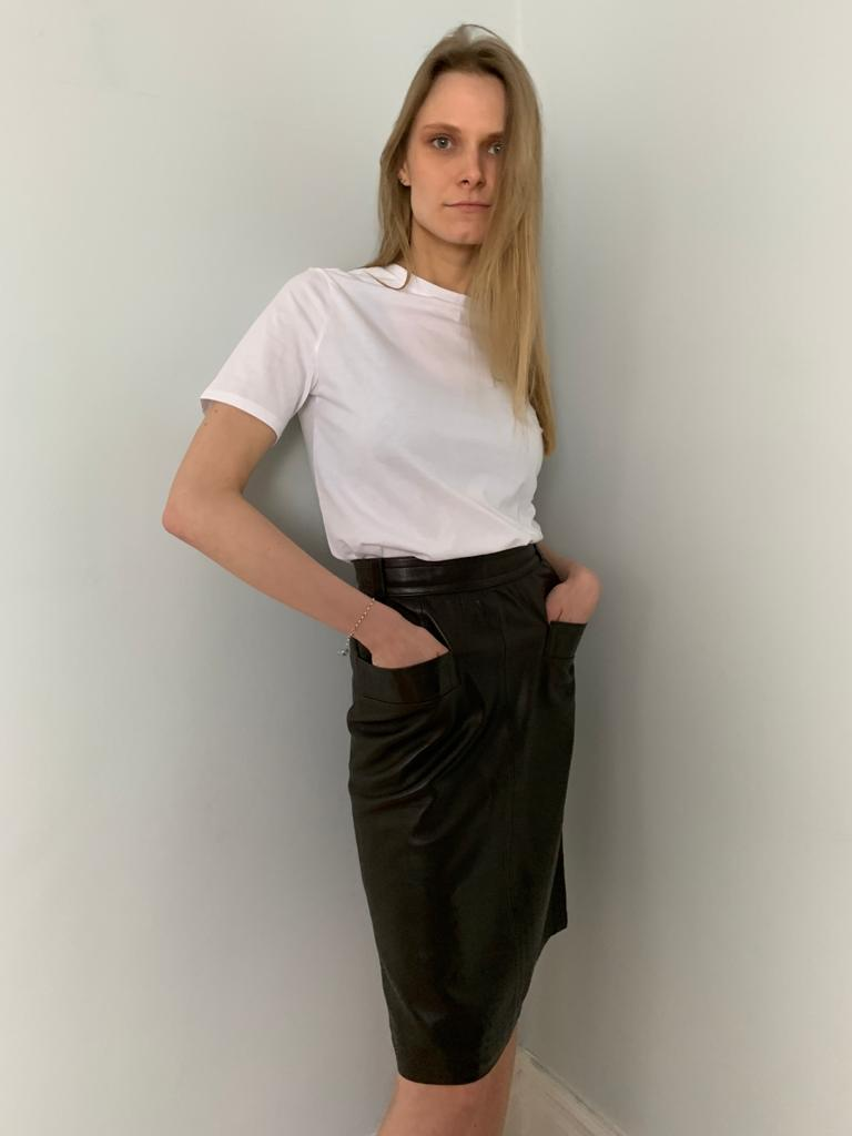 Yves Saint Laurent 1980's leather pencil skirt with pocket detail