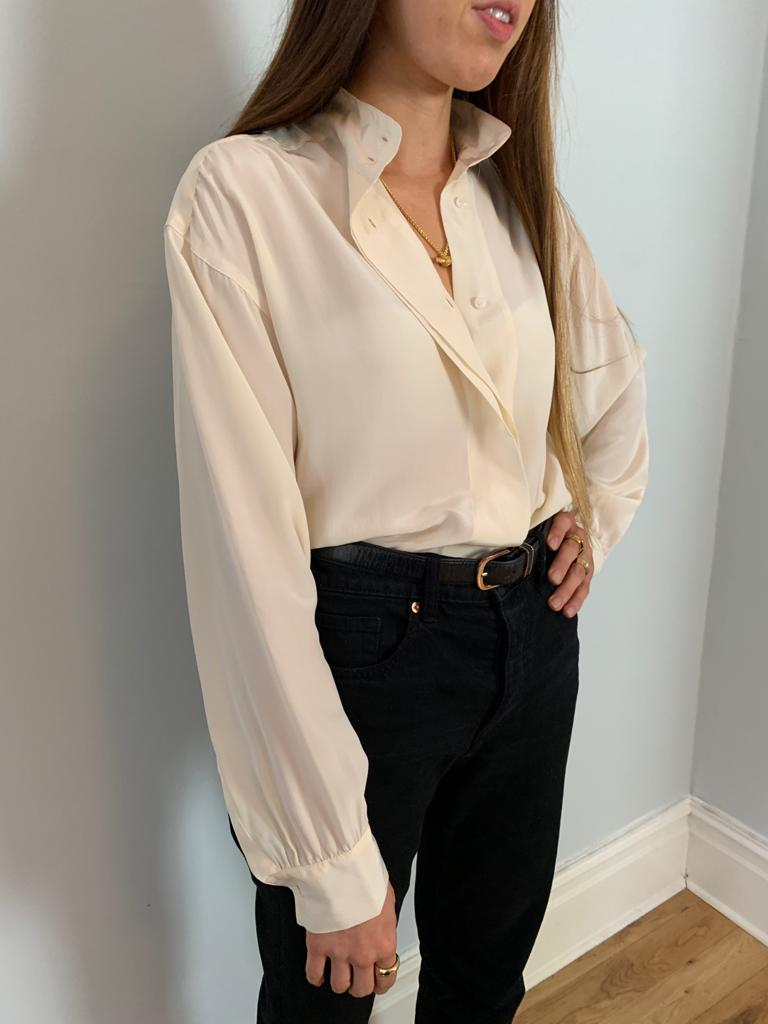 Vintage silk 1990s high neck blouse in ivory