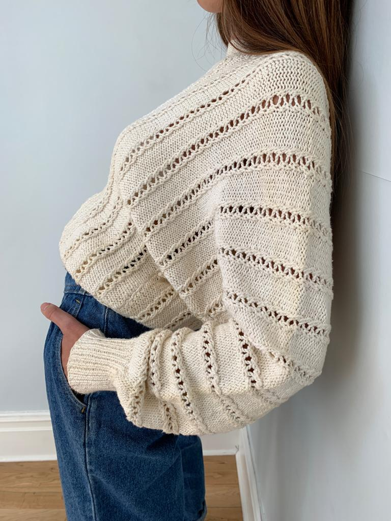 Mary Ann Hobson 1980's hand knitted batwing jumper
