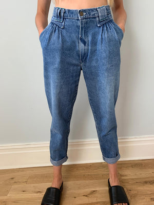 Vintage high waisted pleat front jeans