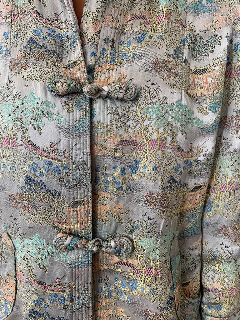 Vintage 1980's silk jacquard Chinese swing jacket