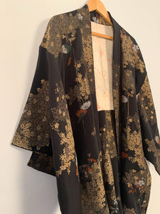Traditional 1960's Haori Japanese Kimono in black with floral metallics