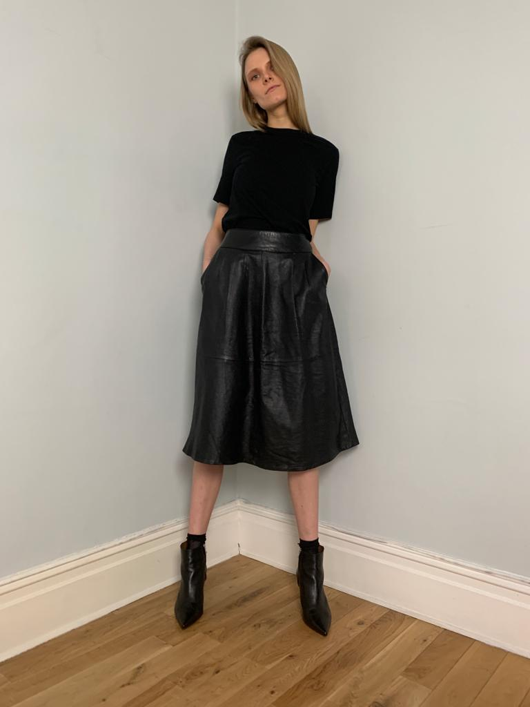 Confezioni 1980's pleat front A-line leather skirt