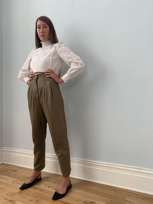 Danier 1980's high waisted peg leg leather trousers