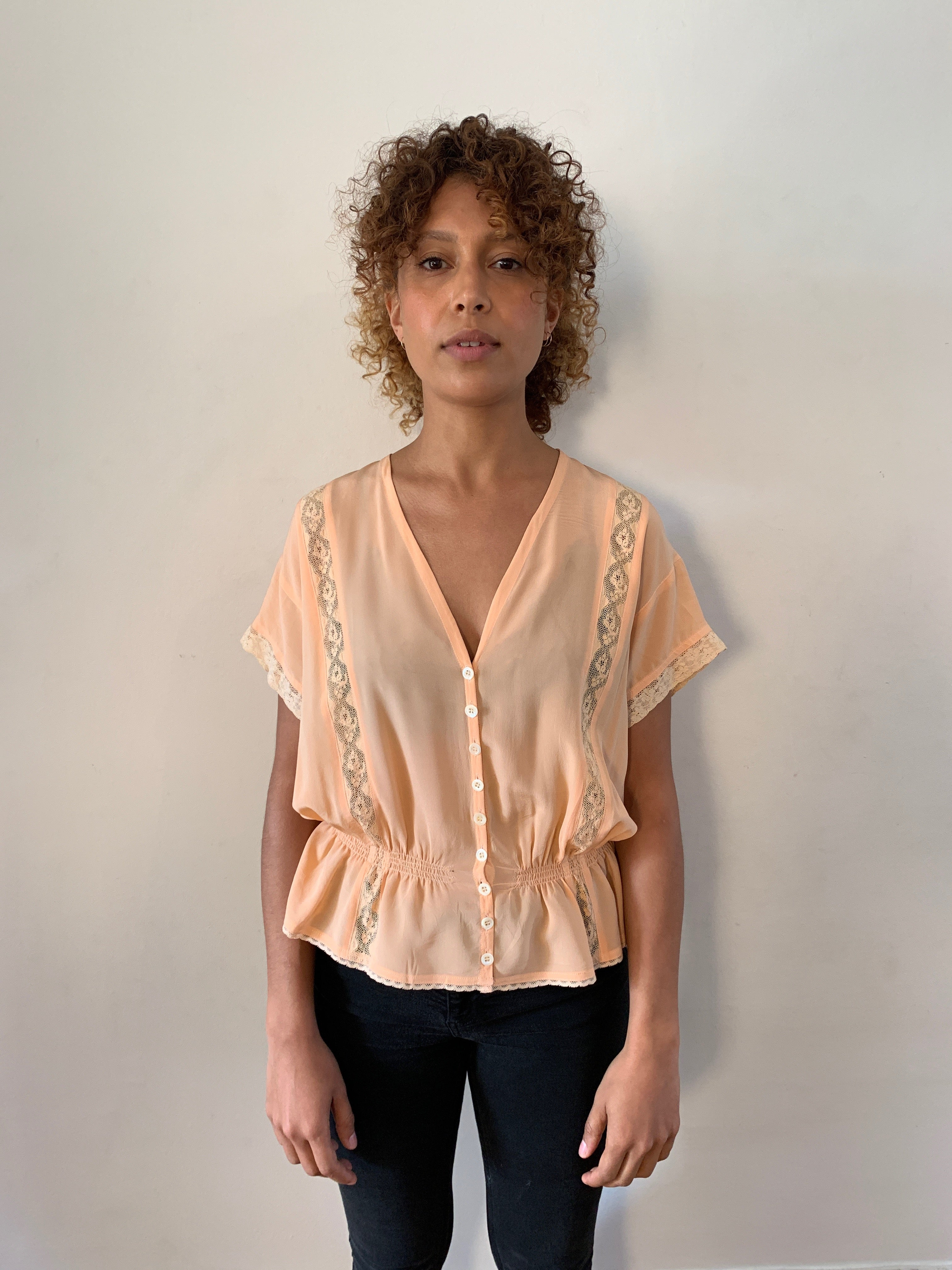 Complice silk and lace lingerie style 1970's blouse