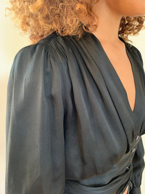 Yves Saint Laurent 1970's silk satin blouse