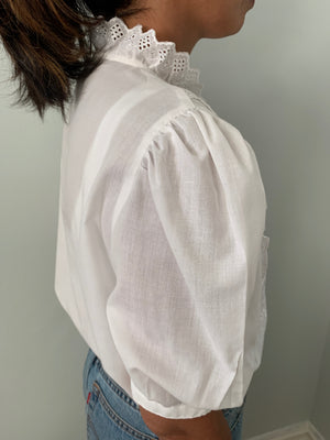 Vintage 1980's cotton voile embroidered blouse