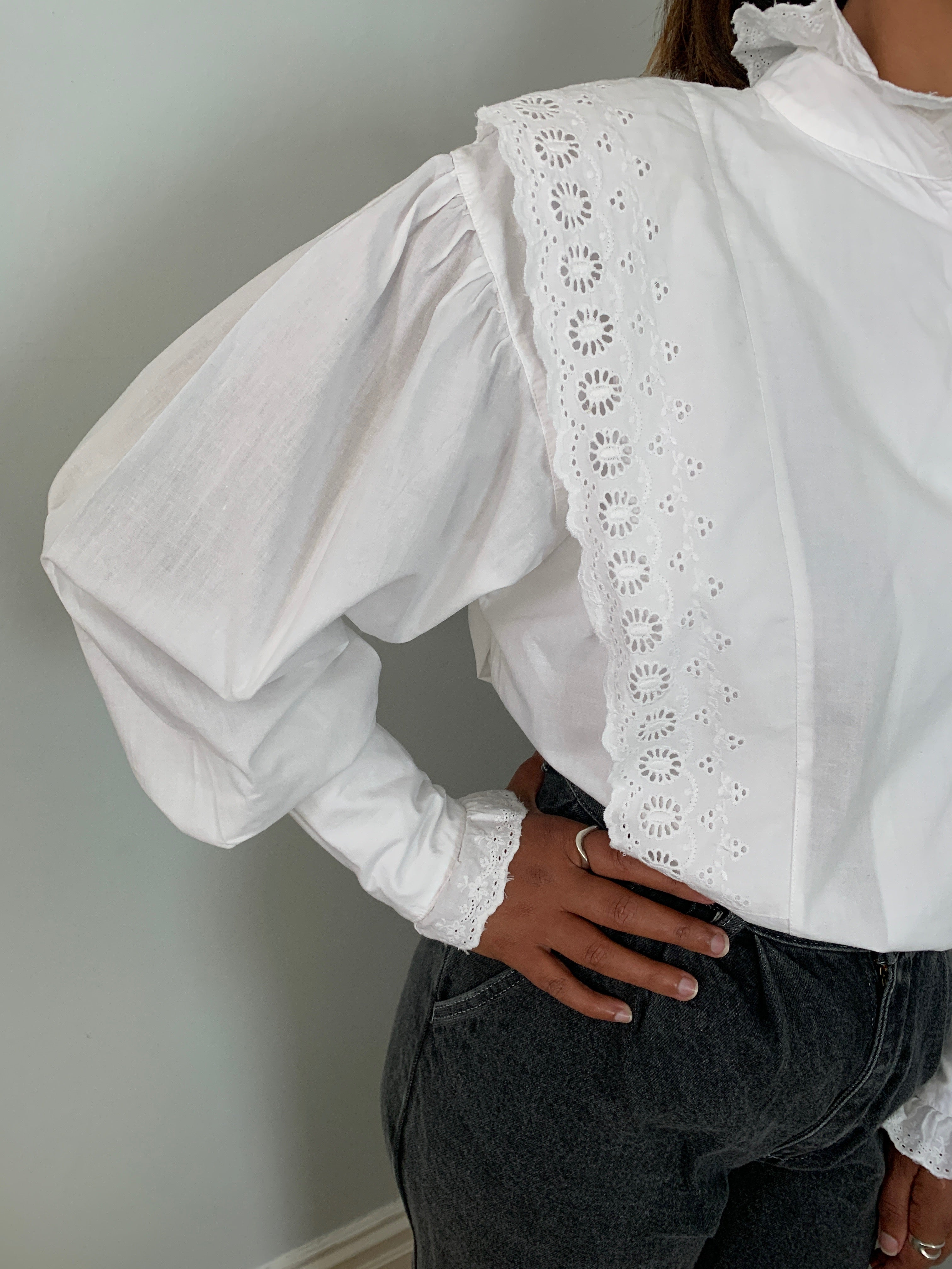 Mary Quant 1980's frill neck cotton blouse