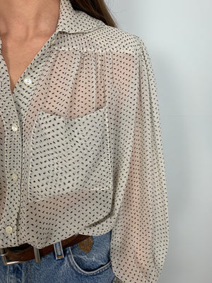 Vintage Chloe silk chiffon double collar blouse