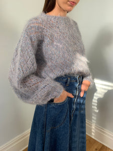 Beautiful hand knitted mohair & metallic jumper