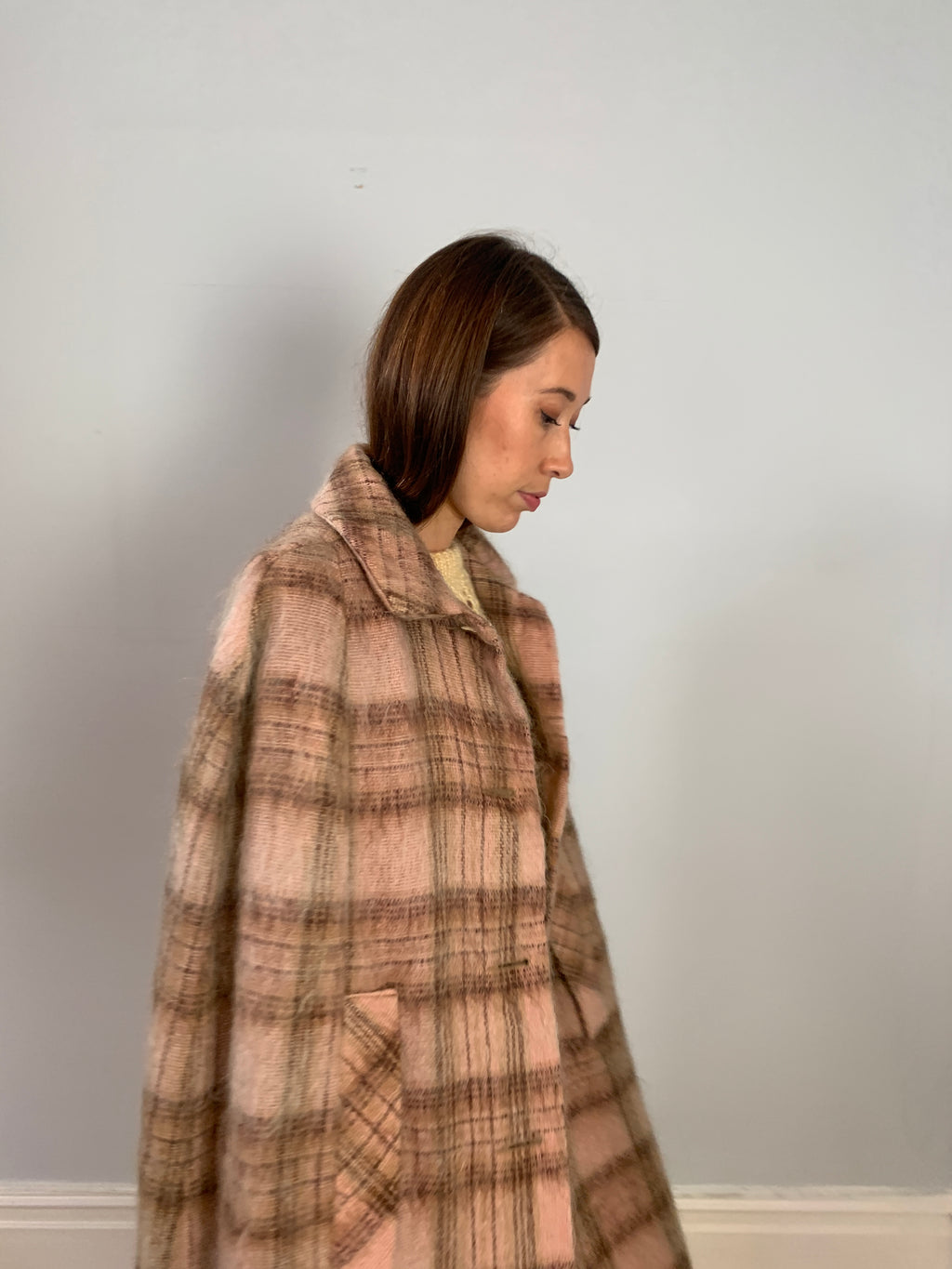 Vintage Rannoch Scottish wool & mohair mix tartan cape