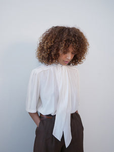 Cara Lisa 1970's silk tie neck blouse