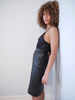 Lanvin 1980's leather pencil skirt