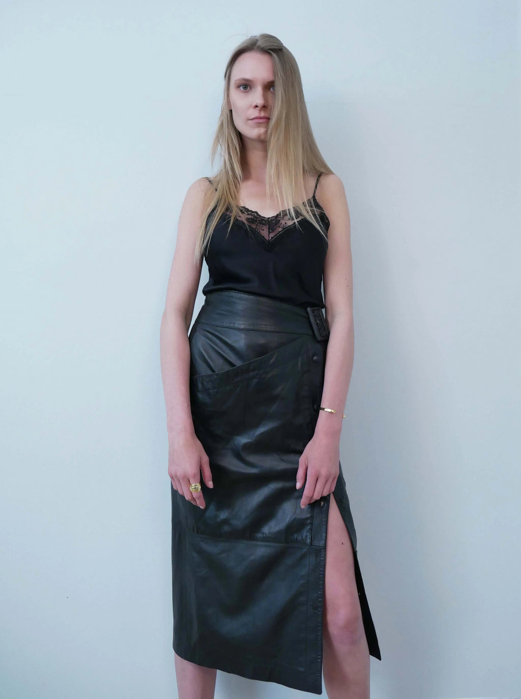 Complice 1980's asymmetric leather pencil skirt