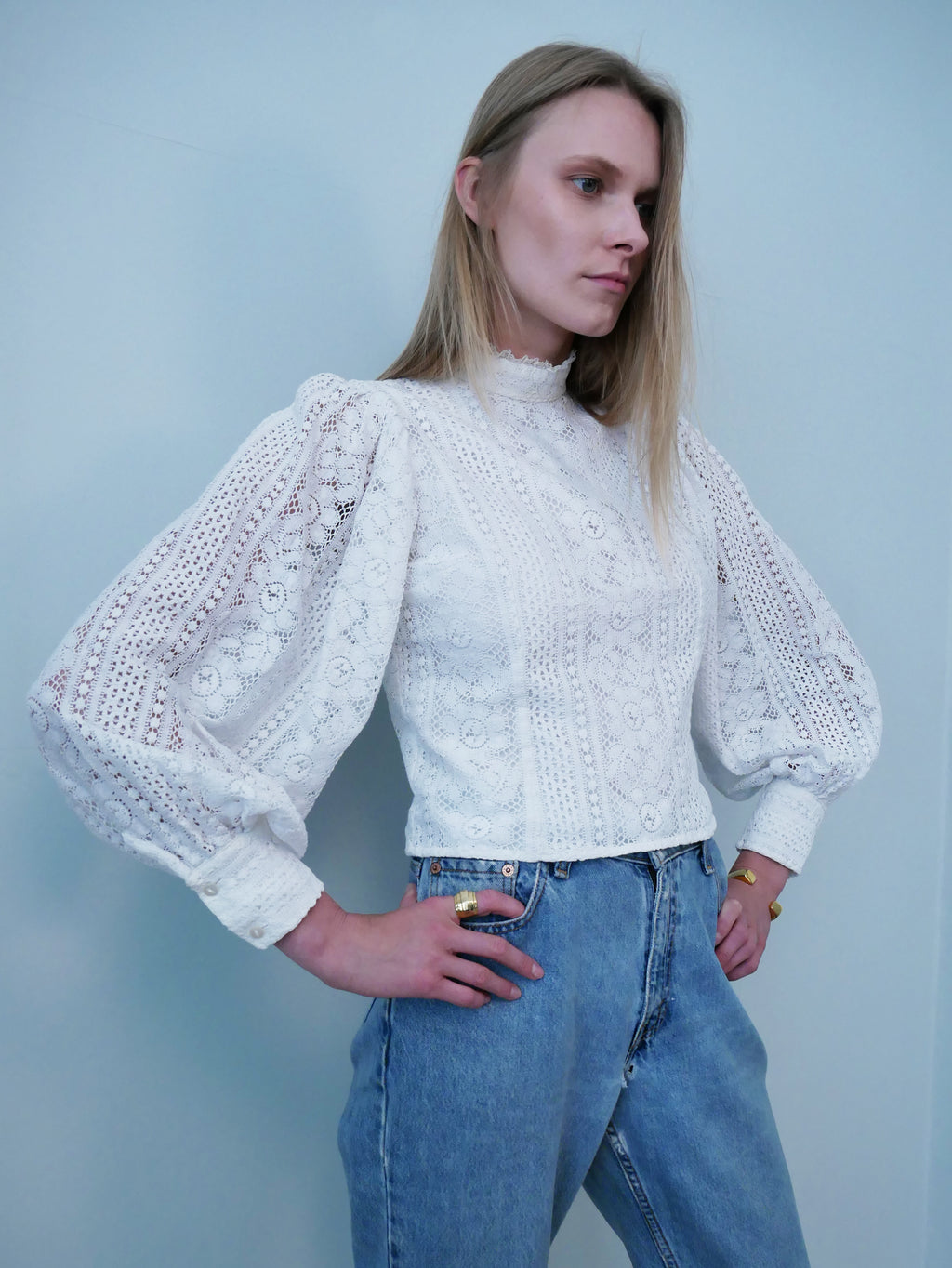 Laura Ashley 1970's lace Edwardian style blouse