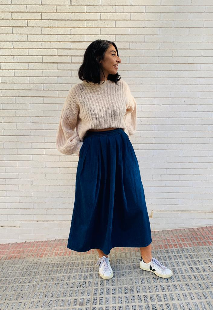 Calvin Klein 1980's denim midi skirt