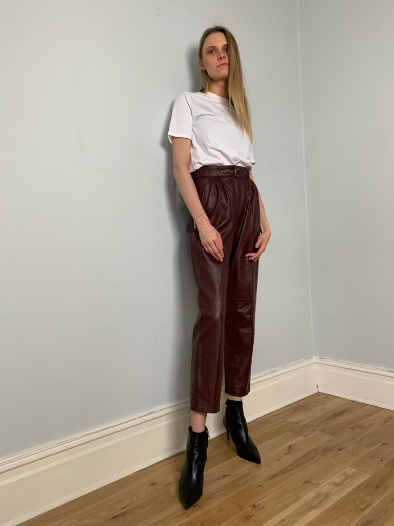 Vintage 1980's pleat front high waisted leather trousers - Maroon