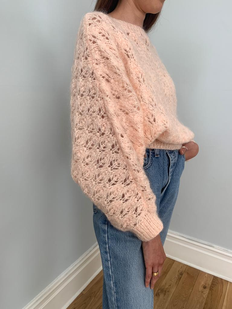 Hand knitted 1980's batwing fluffy knit jumper