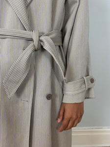 Christian Dior 1980's lightweight stripe wool mix trench coat