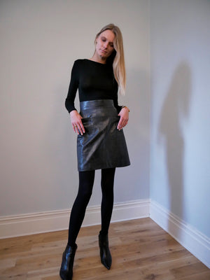 Chanel pre-loved leather skirt