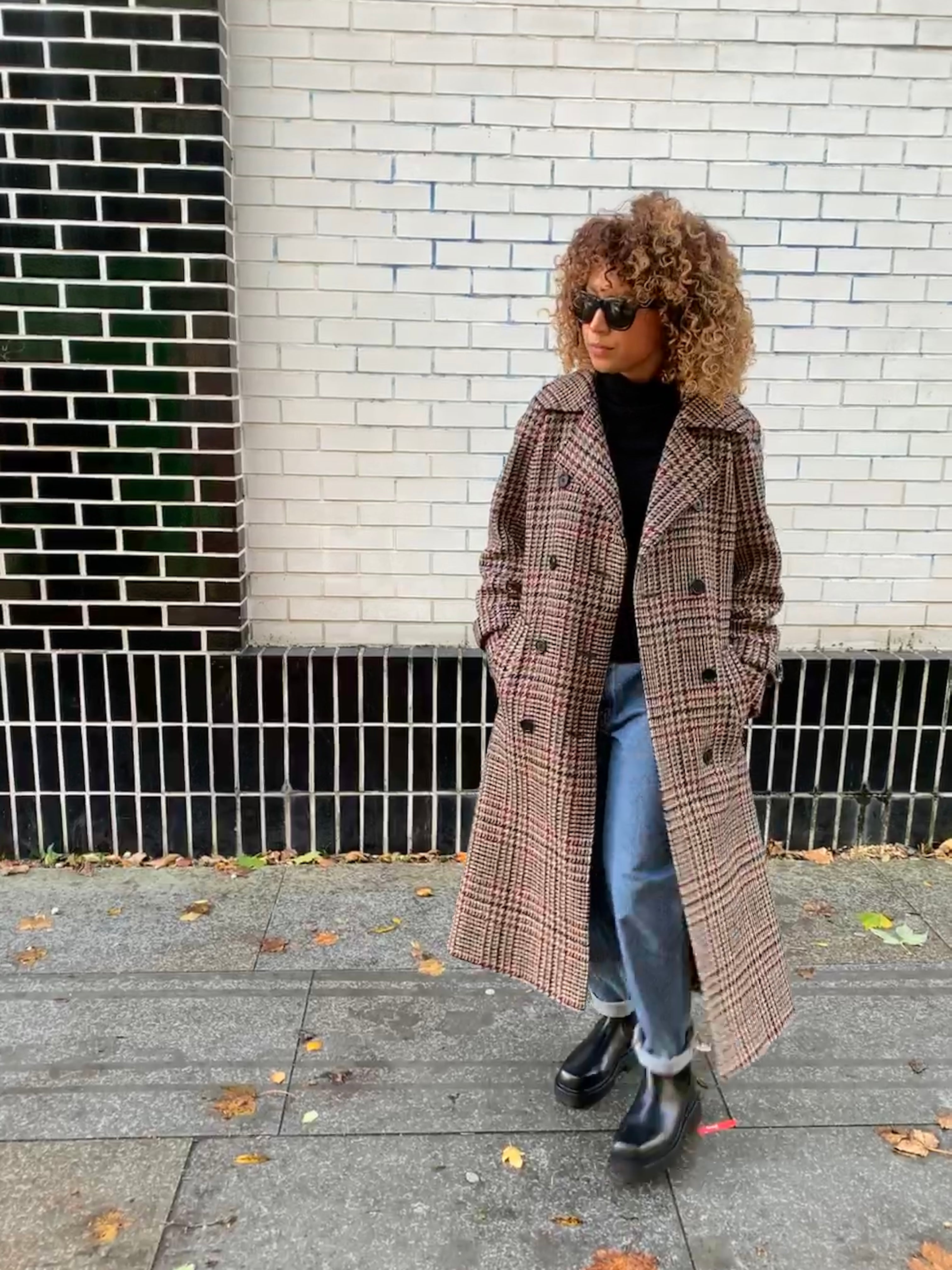 Vintage 90's Aquascutum checked wool coat