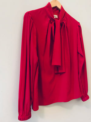 Yves Saint Laurent 1980's silk tie neck blouse