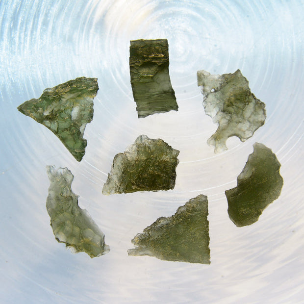 7 Beautiful Raw Moldavite Stones 9g