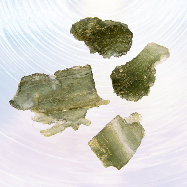 4 Unique Raw Moldavite Stones 9g
