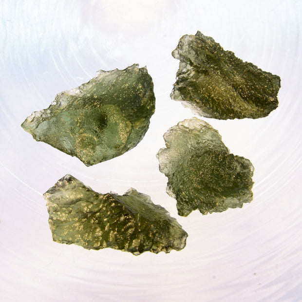 4 Real Genuine Moldavite Stones 9g