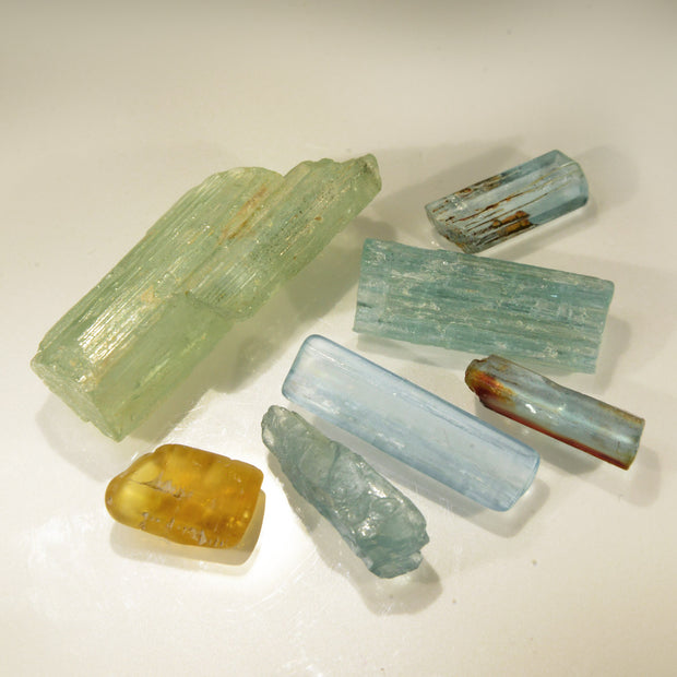 Set of 7 Natural Aquamarine & Yellow Beryl Crystals