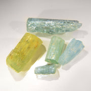 Set of 8 Blue Aquamarine & Golden Beryl Aquamarine Crystals 48ct.