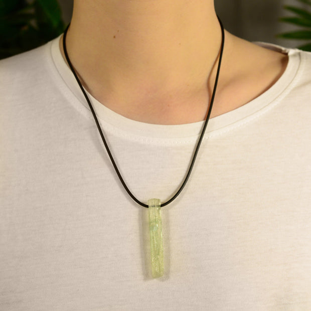 Green Aquamarine Crystal Necklace