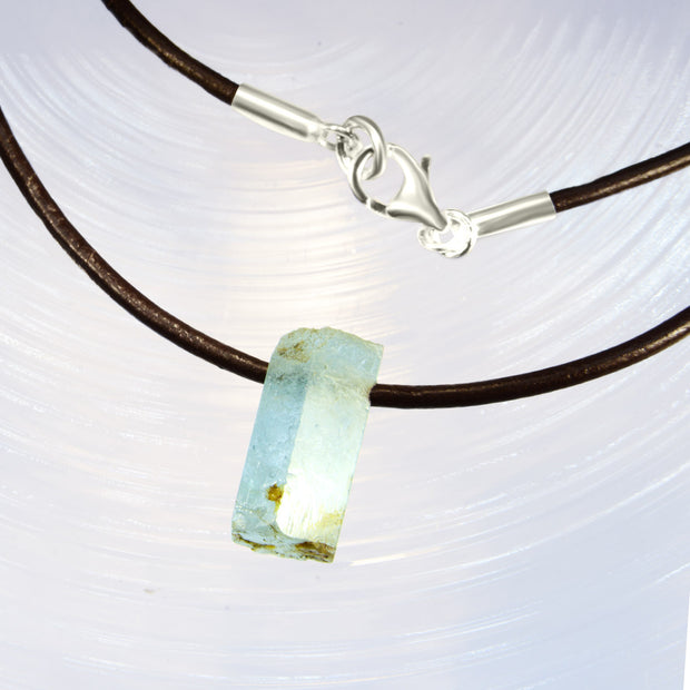 Natural Aquamarine Crystal Cord Necklace