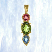Rubellite, Faceted Moldavite & Aquamarine Gem 14kt Gold Pendant