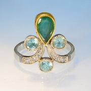 Spectacular Emerald, Diamond & Aquamarine White Gold Ring