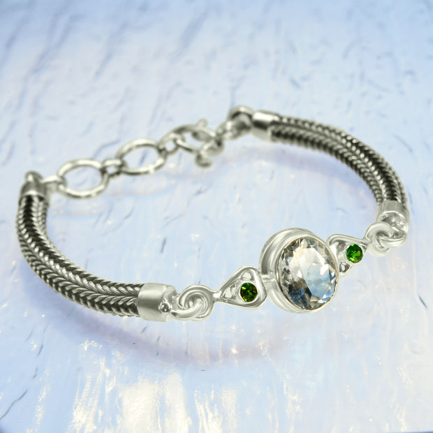Faceted Topaz & Chrome Diopside Silver Chain Bracelet