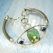 Faceted Moldavite & Blue Kyanite Silver Chain Bracelet