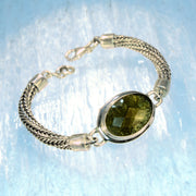 Large Faceted Moldavite Silver Chain Bracelet