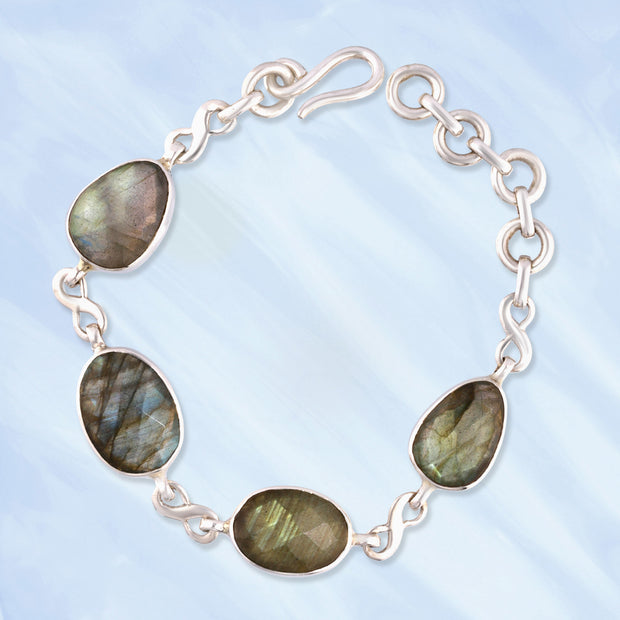 Faceted Labradorite Silver Infinity Bracelet