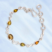 Faceted Golden Tourmaline Silver Link Bracelet