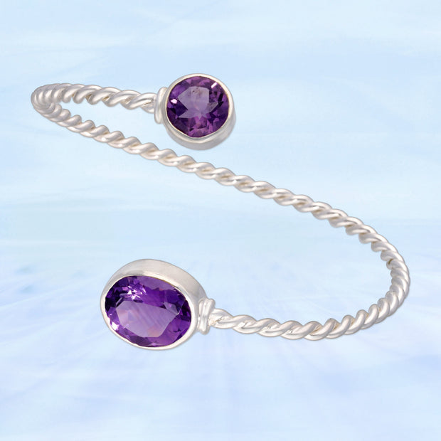 Beautiful Twisted Amethyst Gem Bracelet