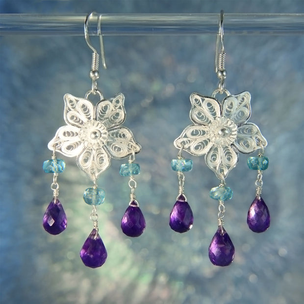 Filigree Amethyst & Apatite Bead 925 Silver Earrings