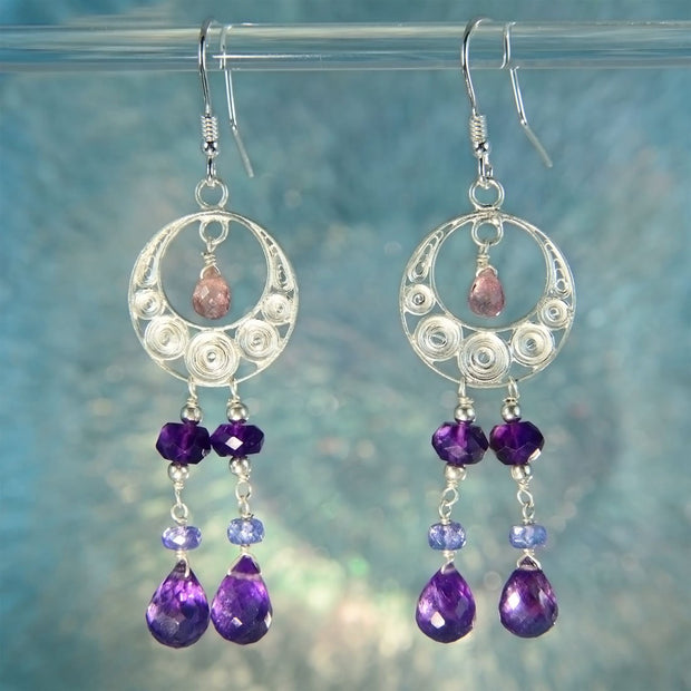 Amethyst, Pink Tourmaline & Tanzanite Beaded Filigree Earrings
