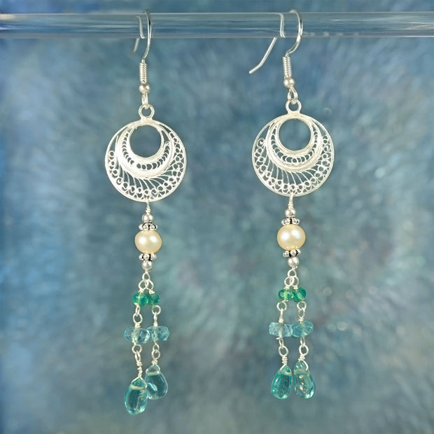 Electric Blue Apatite & Pearl Beaded Sterling Silver Earrings