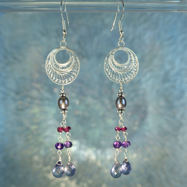 Silver Filigree Iolite, Rubellite, Amethyst & Pearl Earrings
