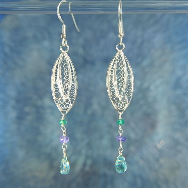 Tanzanite & Apatite Gemstone Bead 925 Silver Earrings