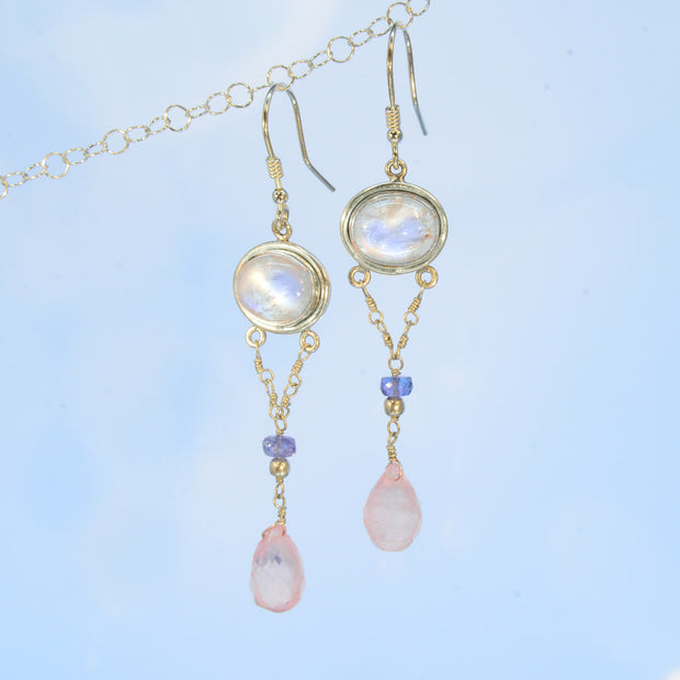 Shimmering Rainbow Moonstone, Tanzanite & Rose Quartz Earrings